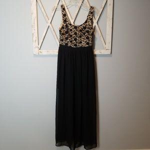Lauren Conrad black & nude crochet maxi dress 6